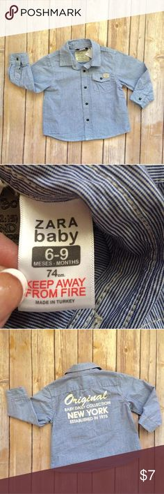 Zara Kids Buttoned Shirt Blue & white striped long sleeved button down shirt. Check out the cool graphic on the back! ZaraKids Shirts & Tops