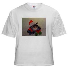 I HEART CHRISTMAS WITH WATERCOLOR PICTURE OF CUTE CAT DRESSED AND READY FOR SANTA White T-Shirt