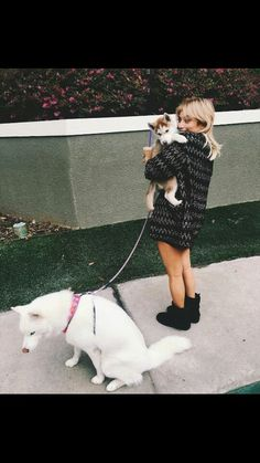 Kirstie with her two dogs, Olaf and Pascal
