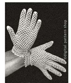 Vintage 1950s Dainty Gloves Crochet Pattern Instant Download PDF Pattern