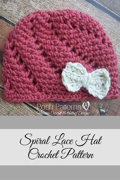 This cute crochet hat pattern features a unique spiral lace design and fun bow embellishment. Includes all sizes. By Posh Patterns.