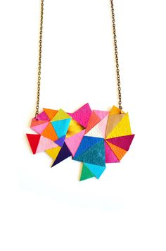 Neon Geometric Necklace Color Block Triangles. $46.00, via Etsy.