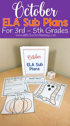 These Halloween and fall themed sub plans are perfect for the month of October! 3rd grade, 4th grade, and 5th grade students will love these activities and you can rest easy knowing they are busy with meaningful ELA activities while you are away. This set of October ELA sub plans can be used as a full day of sub plans OR for several days of your Language Arts block.   Themes in the activities and lessons include: Halloween, bats (informational), costumes, Columbus Day, fall, pumpkins, and…