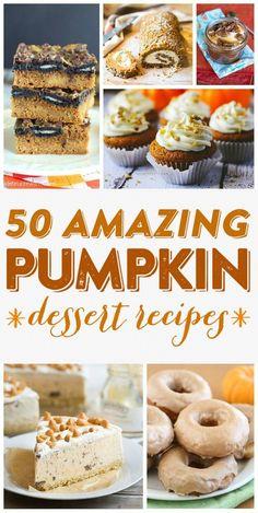 Pumpkin Recipes {50 AMAZING Pumpkin Dessert Recipes} - This huge list of incredible pumpkin goodies will knock your socks off! A must pin!