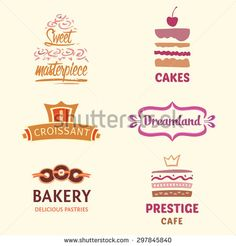 Set of patterns vector logos cakes. Logo confectionery, coffee shop. Big cakes with fillings and wedding cakes. Bakery and croissant. Sweet masterpiece market.
