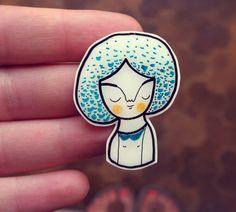 Brooch girl black white plastic pin - Sandy - ready to ship