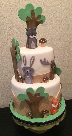 Woodland Animals fondant cake decorations,  forest theme baby shower, woodland animals baby shower cake, woodland animals birthday cake by SadieNJojosshop on Etsy https://www.etsy.com/listing/268011155/woodland-animals-fondant-cake