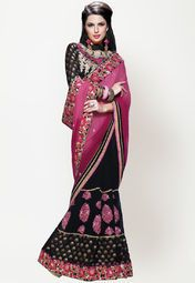 Black coloured saree for women by Mahotsav. This embellished saree is made from georgette and comes with unstitched blouse piece.