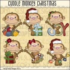 Cuddle Monkey Christmas 1 - Clip Art by Cheryl Seslar
