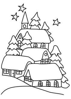 Desenho de paisagem da pequena aldeia de montanha com a for Disegno paesaggio invernale