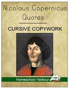 Nicolaus Copernicus Quotes Cursive #Copywork Notebook at #CurrClick