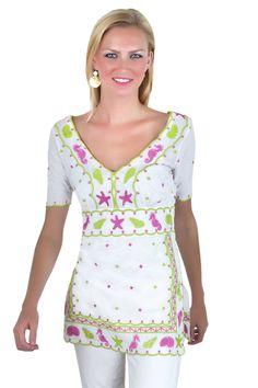 Cotton Seascape Embroidered Top ~ $129.00 sale $51.60