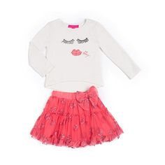 "Betsey Johnson Girls 2 Piece White Face Print Top and Pink Glitter Printed Skirt Set - Infant/Toddler - Betsey Johnson - Babies ""R"" Us"
