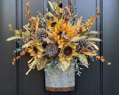 Handcrafted Wreaths for Every Season and Every by twoinspireyou Boxwood Wreath, Hydrangea Wreath, Wreaths For Front Door, Door Wreaths, Monogram Wreath, Autumn Garden, Seasons, Etsy Seller, Fall