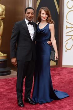 Chiwetel Ejiofor and Sari Mercer, who wore a gown by Suzanne Neville.