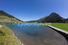 Lake Davos In Graubuenden Switzerland View In Summer Davos, My Images, Switzerland, Photo S, Golf Courses, Hiking, Stock Photos, Vacation, Mountains