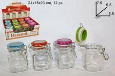 BARATTOLO IN VETRO H. CM. 7,5 Ø CM. 5,5 circa Cucina Accessori Vari Colori PZ.10 it.picclick.com
