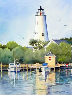 Lighthouse WaterColour.  This would make a beautiful painting in acrylics.