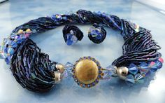 Signed Original By Robert Stunning Midnight Blue AB Crystal Torsade from butterflyblue on Ruby Lane