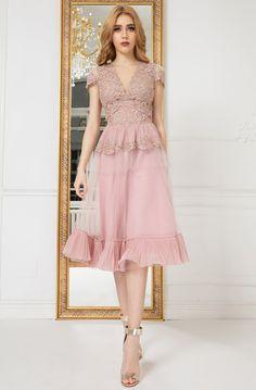 Cristallini - Embroidered V-Neck A-Line Dress Plus Size Wedding Guest Dresses, Plus Size Cocktail Dresses, Plus Size Party Dresses, Beautiful Cocktail Dresses, Pretty Dresses, Beautiful Dresses, Pink Dresses, Lace Dresses, Calf Length Dress