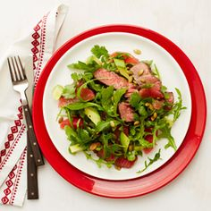 Sodium Girl's Steak Salad with Arugula and Grapefruit from WomansDay.com #protein #fruits #vegetables