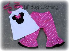 Custom Pink Minnie Capri halter Disney Outfit 3m 6m 9m 12 18 24 2 3 4 5 6 7 8 9/10 by LilBugsClothing on Etsy (null)