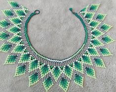 Huichol beaded necklace Necklace collar for woman Fringe necklace Emerald jewelry Beaded jewelry Blue necklace Dangle necklace Beadwork Seed Bead Necklace, Beaded Necklace, Beaded Bracelets, Fringe Necklace, Blue Necklace, Bead Jewellery, Seed Bead Jewelry, Diy Jewelry, Jewelry Making