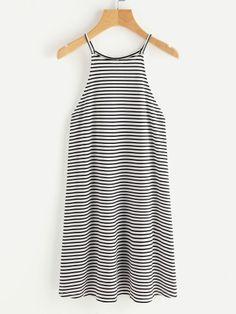 Striped Racer Cami Dress -SheIn(Sheinside)