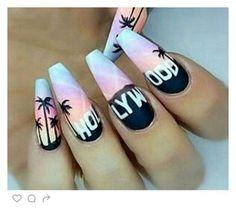 Imagen de hollywood, nails, and nail art Best Acrylic Nails, Summer Acrylic Nails, California Nails, Hollywood Nails, Glow Nails, Tree Nails, Pretty Nail Art, Manicure E Pedicure, Stylish Nails