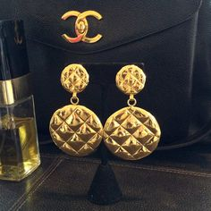 Rare Chanel Quilted Pillow Earrings Huge Discs Victoire by VWayne