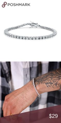 Men's White Gold Lab Diamond Tennis Bracelet Men's White Gold Plated Solitaire Lab Diamond Tennis Bracelet  3mm width  Length options 8inches ,8.5 inches and 9 inches Made of high quality gold plating on top of jewelers brass. Included's clasp that lock for a secure fit. Ts Verniel Accessories Jewelry