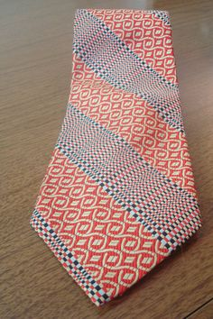 Men's Vintage Tie // Red Print Tie // 1970s Mens by BeastVintage, $15.00