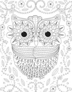printable difficult coloring page owl