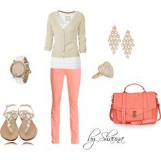 Love these fun salmon colored pants, created by shauna-rogers on Polyvore