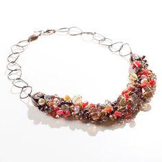 Naranja+/+cristal+/+alambre+Crochet+declaración+por+ChristineBorn