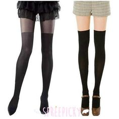 Taller, Bigger and Darker! Fake Over Knees Silk Tights 2 Colors Available SP141557
