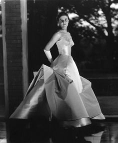"personal recollections about Charles James from those who knew and worked with him. Former clients, assistants, muses, and friends share their stories with fashion journalist Alina Cho, illuminating the life and work of the legendary couturier in this special online audio feature. | Christophe in the ""Clover Leaf"" gown, ca. 1953."