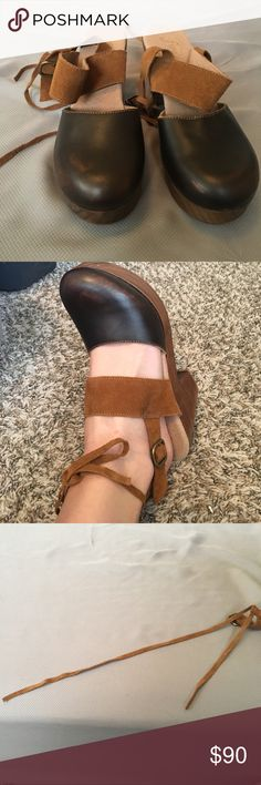 Free people clogs Worn outside like once. They are perfect condition other than one of the thin straps is short. The suede material was rather fragile but it still ties and you can't tell! Free People Shoes Mules & Clogs
