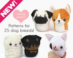 Plush sewing pattern PDF Dog stuffed animal with VIDEO tutorials - Teacup Puppy plushie 25 breeds kawaii pug corgi rottweiler bulldog PDF sewing pattern Teacup Puppy dog stuffed animal plush Plushie Patterns, Animal Sewing Patterns, Cute Teacup Puppies, Pet Rodents, Sewing Stuffed Animals, Sewing Projects For Beginners, Cute Sewing Projects, Animal Crafts, Sewing Crafts