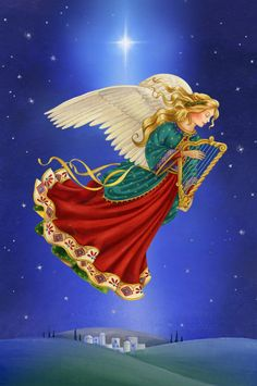 Leading Illustration & Publishing Agency based in London, New York & Marbella. Christmas Scenes, Christmas Angels, Christmas Art, Vintage Christmas, Guardian Angel Pictures, Angel Images, Angel Clouds, Angel Artwork, Angels Beauty