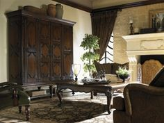 Palos Verdes Baldwin Ent Cabinet With a legacy as rich as the land which gave them inspiration, artisans of Old World Europe elevated the trade of cabinetmaking to a legitimate form of art. Media Furniture, Lexington Home, Ranch Remodel, Cabinet Makers, Entertainment Center, Home Furnishings, Living Room, Interior Design, Inspiration