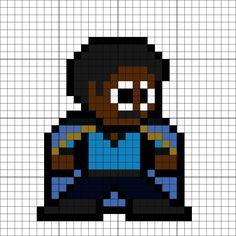 Lando Calrissian Perler Bead Pattern Pearler Bead Patterns, Perler Patterns, Fuse Beads, Perler Beads, Pixel Art Templates, Lando Calrissian, 8 Bits, Minecraft Pixel Art, C2c Crochet