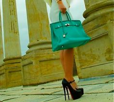 Turquoise Birkin Bag & great shoes