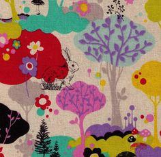 HALF YARD Animal Woodland  Bunny Butterfly by fabricsupply on Etsy, $8.75