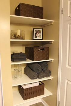 KM Decor: DIY: Organizing Open Shelving in a Bathroom Bathroom Linen Closet Reveal Our Home Made Easy Big Ideas for Small Bathroom Sp. Bathroom Closet Organization, Bathroom Storage Shelves, Organization Ideas, Towel Storage, Storage Ideas, Shelves In Closet Diy, Bath Shelf, Linen Storage, Shelf Ideas