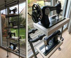 Ein Sammlerregal für alte Nähmaschinen. Der Stahl in Kombination mit den glänzenden starken Regalböden bringt die Objekte ideal zur Geltung.
