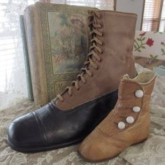 Antique Victorian Shoe Boots to Display ~ Mother & Baby Victorian Shoes, Primitive Country, Baby Boots, Mother And Baby, Country Decor, Combat Boots, Shoe Boots, Lace Up, Pairs