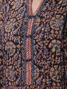 Black-Blue Kalamkari-printed Mandarin Collar Cotton Kurta