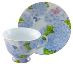 Blue Butterfly Porcelain Teacups Set of 6 Tea Cups include 6 Cup & 6 Saucers