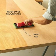 Use a Pad on Large Areas - 20 Wood Finishing Tips: http://www.familyhandyman.com/woodworking/staining-wood/wood-finishing-tips